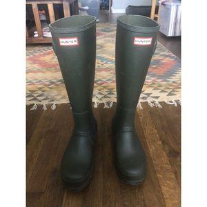 Men's green HUNTER original tall boots size 10